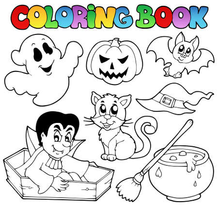 coffin: Coloring book Halloween cartoons 1 - vector illustration.