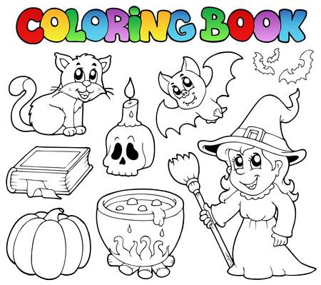 Coloring book Halloween collection - vector illustration. Vector