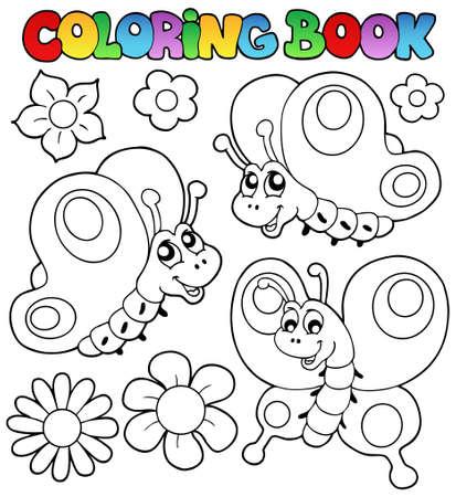 livre � colorier: Coloration du livre trois papillons - illustration vectorielle. Illustration