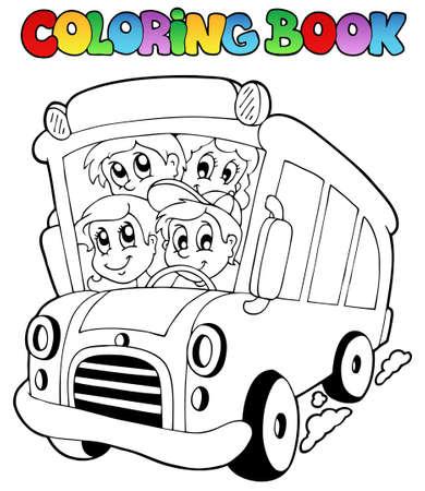 libro caricatura: Libro para colorear con el autob�s y los ni�os - ilustraci�n vectorial.