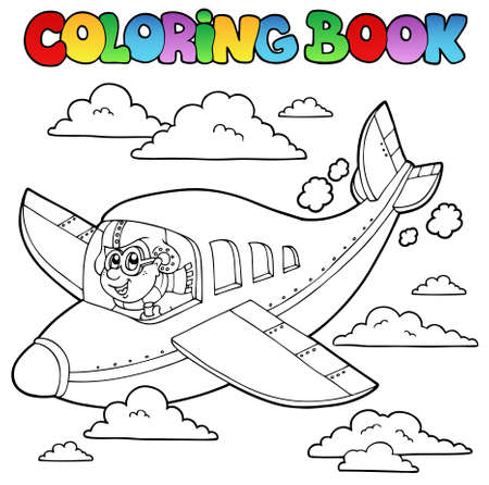 Coloring book with cartoon aviator - vector illustration. Stock Vector - 10565482