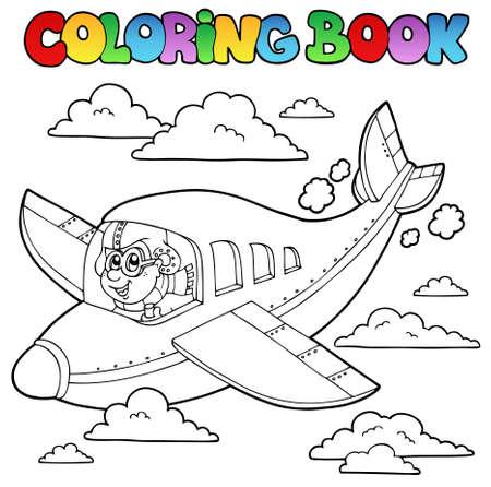 Coloriage livre de bande dessinée aviateur - illustration vectorielle.