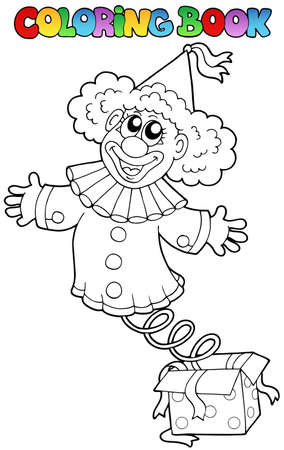 Coloring book with clown in box - vector illustration. Vector
