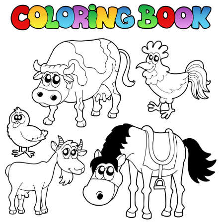 draw animal: Coloring book with farm cartoons - vector illustration.