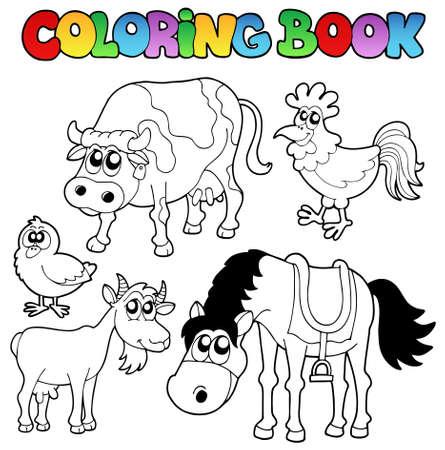 vaca caricatura: Libro para colorear con caricaturas de granja - ilustración vectorial.