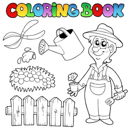 Coloring book with garden topic - vector illustration. Stock Vector - 10565484