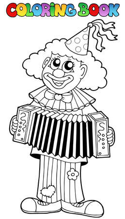 Coloring book with happy clown 1 - vector illustration. Vector