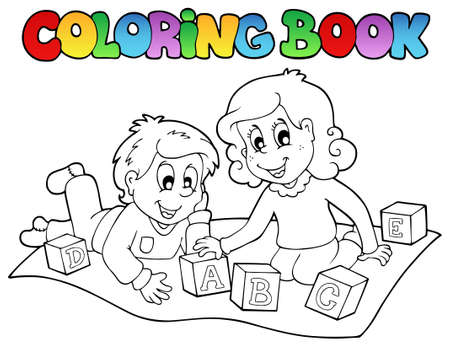 toy block: Coloring book with kids and bricks - vector illustration.