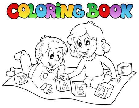 educativo: Libro para colorear con niños y ladrillos - ilustración vectorial.