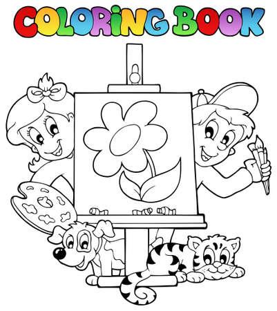 livre � colorier: Livre de coloriage avec des enfants et de la toile - illustration vectorielle.