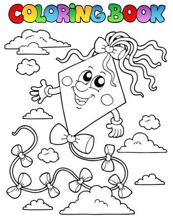 libros volando: Libro para colorear con la cometa 1 - ilustraci�n vectorial.