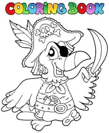 filibuster: Libro da colorare con pappagallo pirata - illustrazione vettoriale.