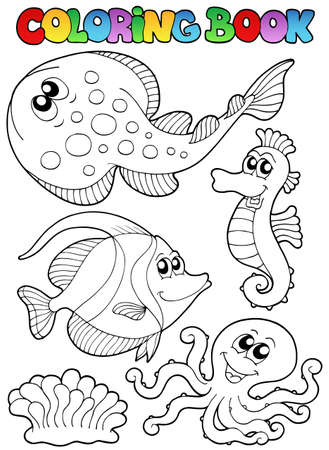 outline fish: Coloring book with sea animals 3 - vector illustration. Illustration