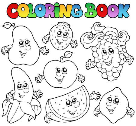 Coloring book with various fruits - vector illustration.