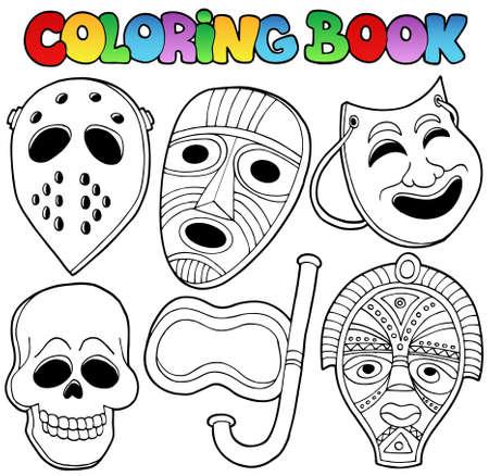 mascaras carnaval: Libro para colorear con varias máscaras - ilustración vectorial. Vectores