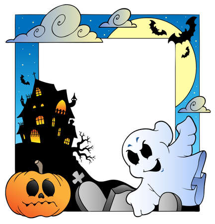 Frame with Halloween topic 1 - vector illustration. Illustration