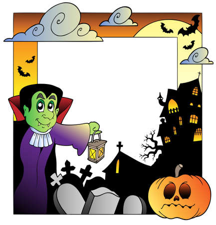 Frame with Halloween topic 2 - vector illustration. Vector