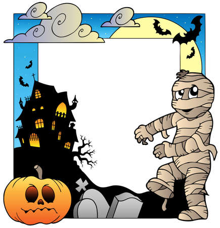 bandage: Frame with Halloween topic 3 - vector illustration.
