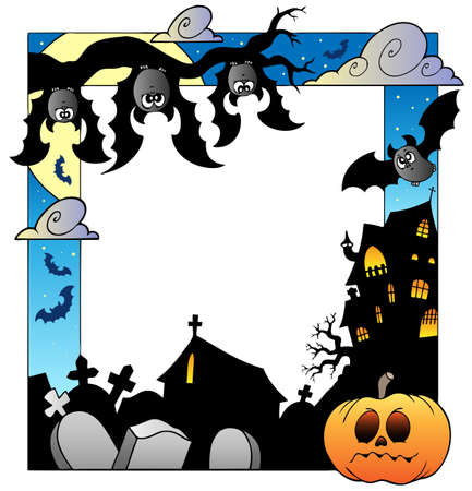 fright: Frame with Halloween topic 5 - vector illustration.