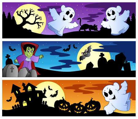 haunted: Halloween banners set 1 - vector illustration.