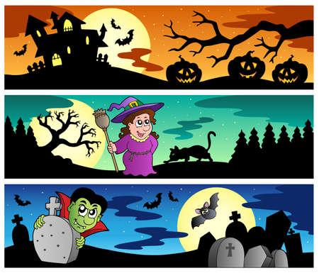 maison de maitre: Banni�res de Halloween ensemble 2 - illustration vectorielle.