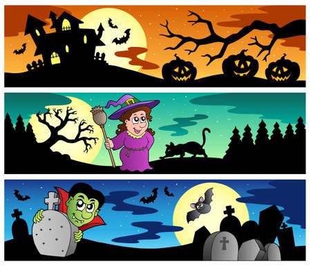 manor: Halloween banners set 2 - vector illustration.
