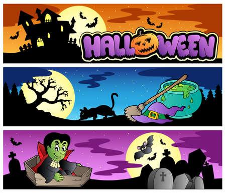 trumna: Banery Halloween zestaw 3 - Ilustracja wektorowa.