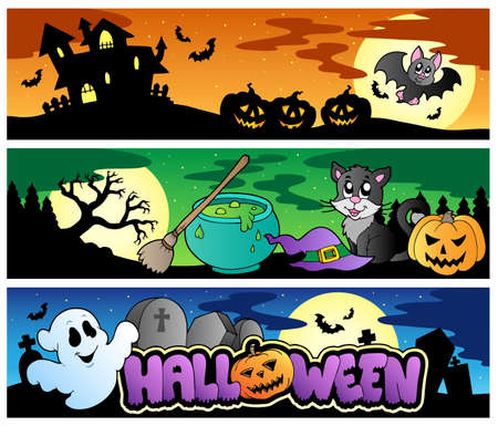halloween cartoon: Halloween banners set 4 - vector illustration. Illustration
