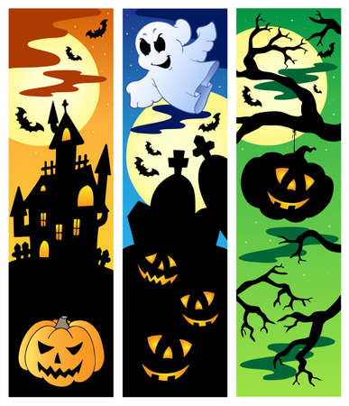 ghost house: Halloween banners set 5 - vector illustration.