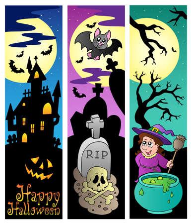 moon shadow: Halloween banners set 6 - vector illustration.
