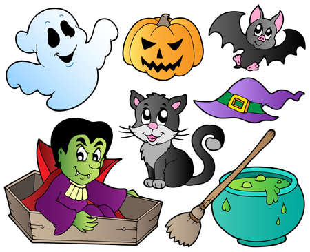 halloween cartoon: Halloween cute cartoons set 1 - vector illustration.