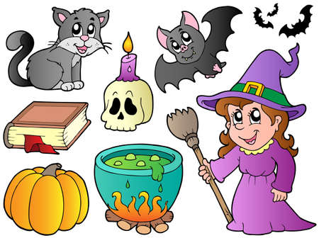 broomstick: Halloween images collection - vector illustration. Illustration