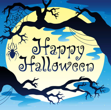 haunting: Happy Halloween theme with Moon 3 - vector illustration. Illustration