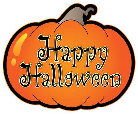 halloween cartoon: Pumpkin with Happy Halloween sign - vector illustration. Illustration