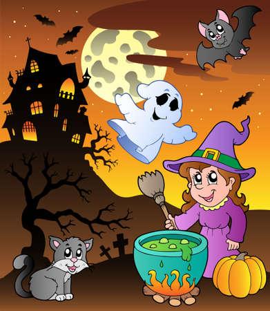 october: Scene with Halloween theme 1 - vector illustration.