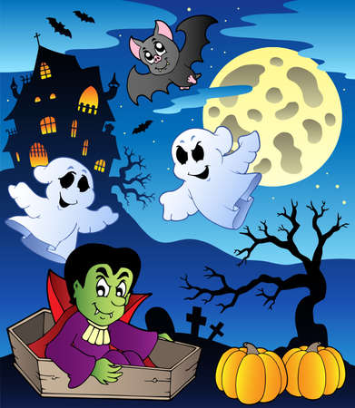 cartoon vampire: Scene with Halloween theme 2 - vector illustration.