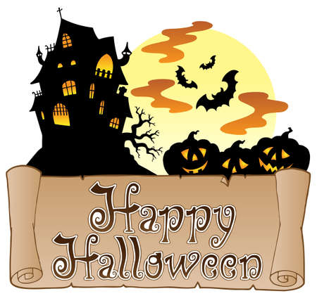 haunted: Theme with Happy Halloween banner 1 - vector illustration.