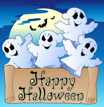 happy halloween: Theme with Happy Halloween banner 2 - vector illustration.