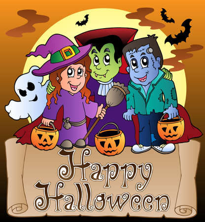 broomstick: Theme with Happy Halloween banner 3 - vector illustration.