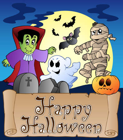 Theme with Happy Halloween banner 4 - vector illustration. Vector