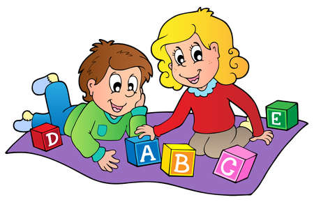 block: Two kids playing with bricks - vector illustration.
