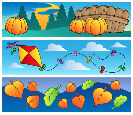 scenery set: Autumn banners collection  illustration.