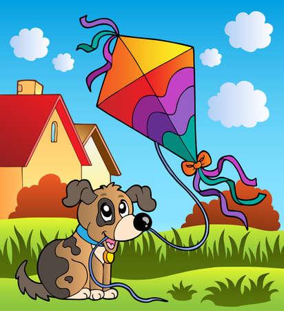 paper kite: Autumn scene with dog and kite illustration.