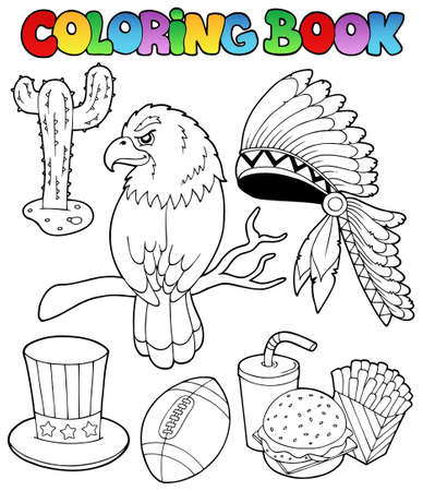 Coloring book American theme images  illustration. Vector