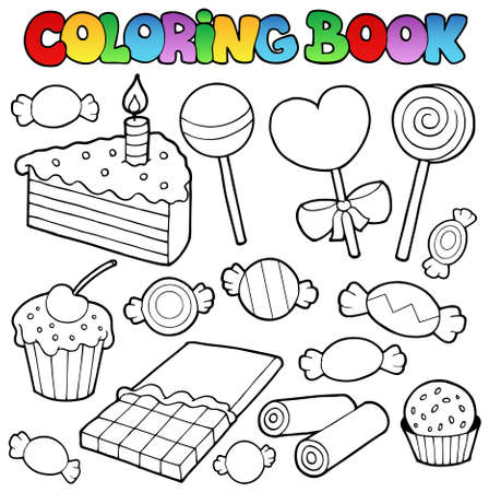 Coloring book candy and cakes illustration. Stock Vector - 10780640