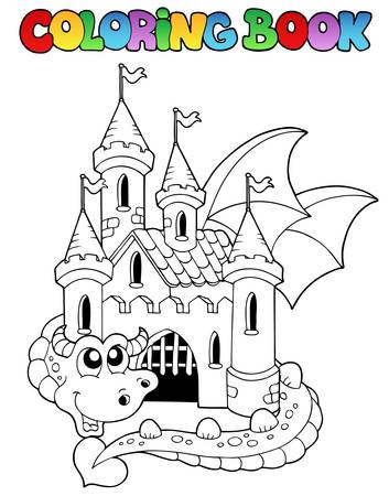 Coloring book castle and big dragon  illustration. Vector