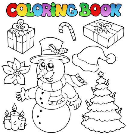 tree outline: Coloring book Christmas topic  illustration.