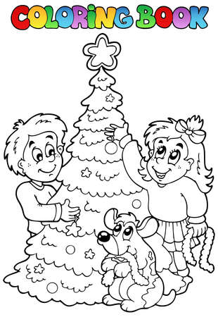 Coloring book Christmas topic  illustration. Stock Vector - 10780696