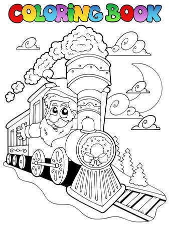 train cartoon: Coloring book Christmas topic  illustration.