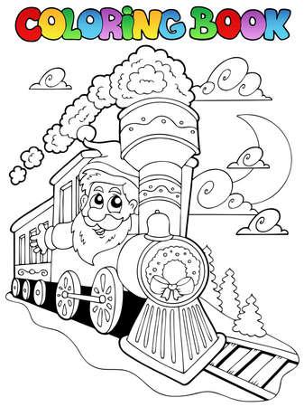 tren caricatura: Libro para colorear de Navidad ilustraci�n tema.